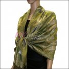 Metallic Paisley Pashmina <br>Army Green