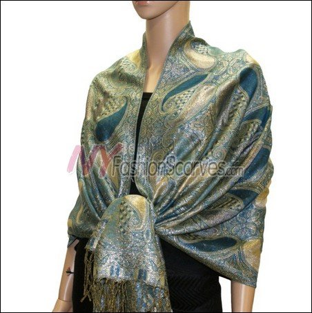 Metallic Paisley Pashmina <br>Peacock Blue
