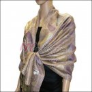Metallic Paisley Pashmina <br>Pink Purple