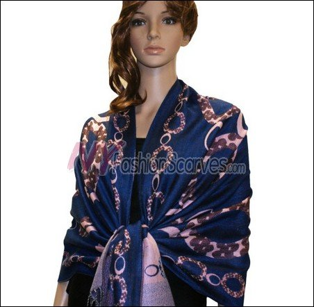 Abstract Circle Shawl <br>Royal Blue