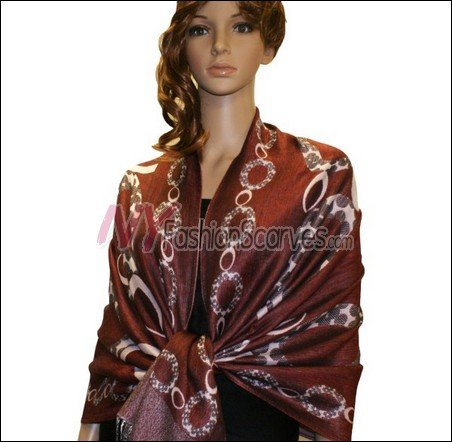 Abstract Circle Shawl <br>Rust Red