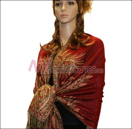 Big Paisley Thicker Pashmina<br>Red