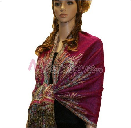 Big Paisley Thicker Pashmina <br>Fuscia