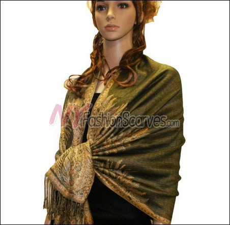 Big Paisley Thicker Pashmina <br>Olive Green