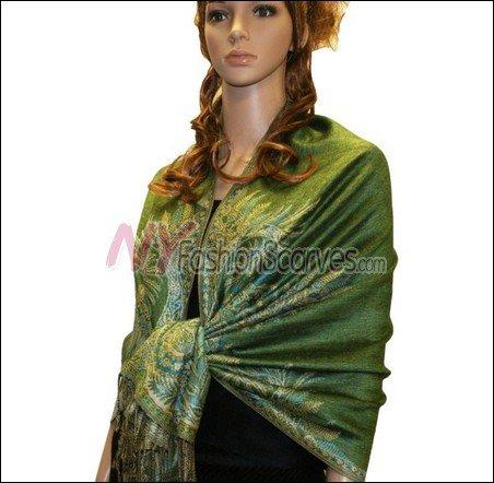 Big Paisley Thicker Pashmina <br>Green