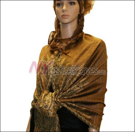 Big Paisley Thicker Pashmina <br>Golden Brown