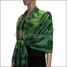 Leaf Jacquard Pashmina Scarf <br>Green