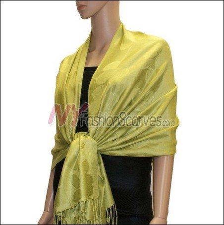 Leaf Jacquard Pashmina Scarf <br>Yellow Green