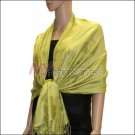 Leaf Jacquard Pashmina Scarf <br>Yellow Green