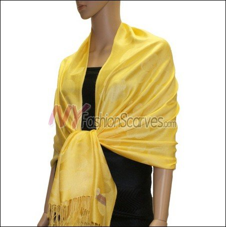Leaf Jacquard Pashmina Scarf <br>Yellow
