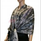 Metallic Stem Flower Shawl - Black