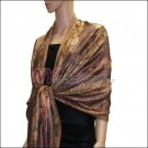 Metallic Stem Flower Shawl - Brown