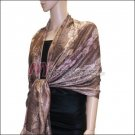 Metallic Stem Flower Shawl - Coffee
