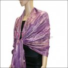 Metallic Stem Flower Shawl - Purple