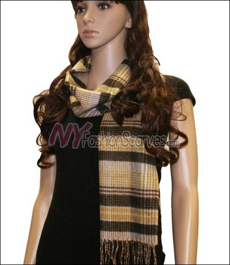 Plaid Cashmere Feel Scarf <br>NY34-07
