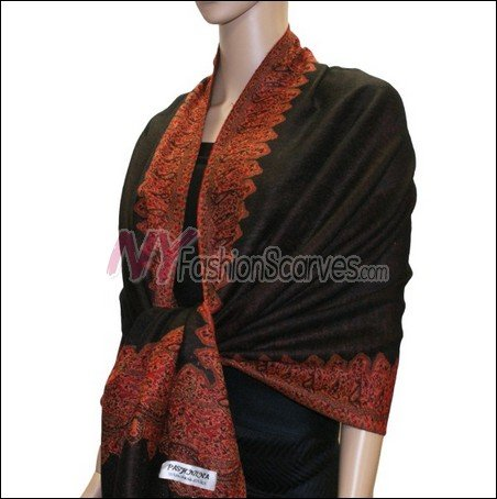 Border Patterned Pashmina<br>Dark Brown