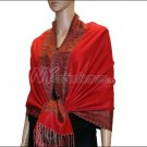 Border Patterned Pashmina<br>Red