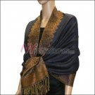 Border Patterned Pashmina<br>Navy