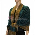 Border Patterned Pashmina<br>Dark Green