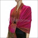 Border Patterned Pashmina<br>Hot Pink