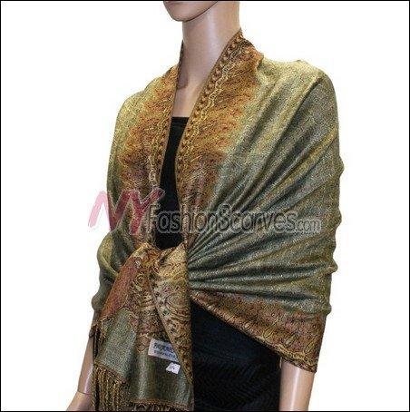 Border Patterned Pashmina<br>Dark Sea Green