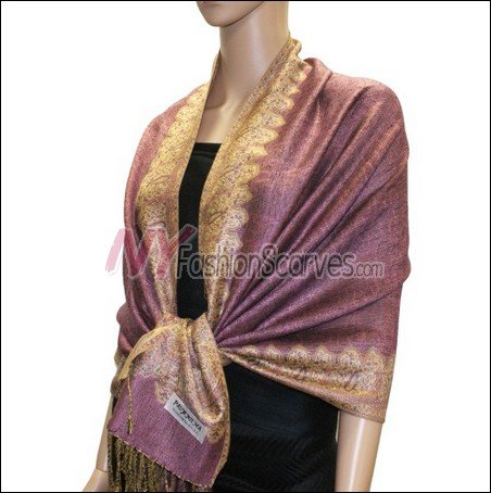Border Patterned Pashmina<br>Pale Violet Red