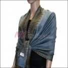 Border Patterned Pashmina<br>Light Steel Blue
