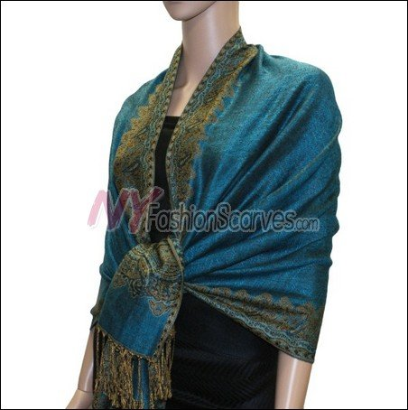 Border Patterned Pashmina<br>Turquoise