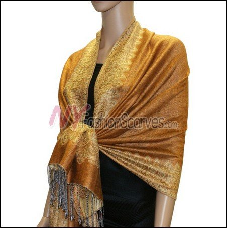 Border Patterned Pashmina<br>Sandy Brown