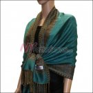 Border Patterned Pashmina<br>Medium Aquamarine