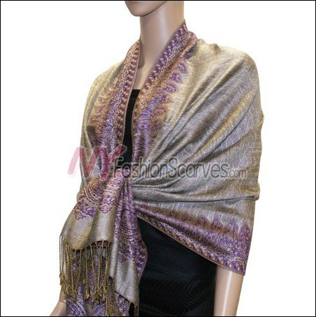 Border Patterned Pashmina<br>Light Brown w/ Purple