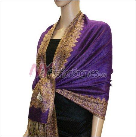 Border Patterned Pashmina<br>Purple