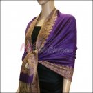 Border Patterned Pashmina<br>Purple