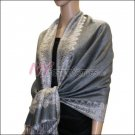 Border Patterned Pashmina<br>Grey