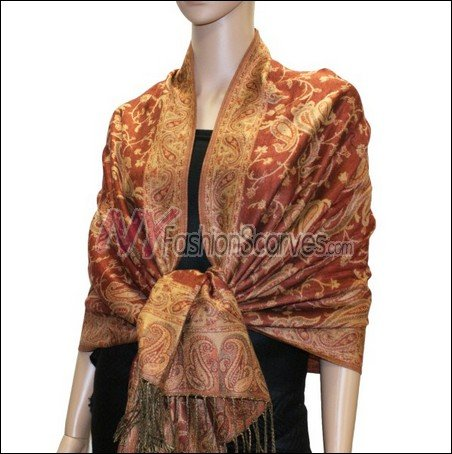 Small Paisley Pashmina <br>Rust Brown