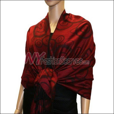 Multi Circle Soft Pashmina <br>Black w/ Jojoba Red