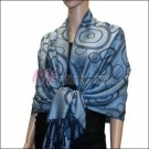 Multi Circle Soft Pashmina <br>Navy w/ Pale Blue