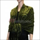 Multi Circle Soft Pashmina <br>Black w/ Army Green