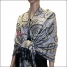 Multi Circle Soft Pashmina <br>Black w/ Grey