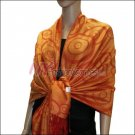 Multi Circle Soft Pashmina <br>Red w/ Orange