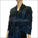 Multi Circle Soft Pashmina <br>Blue w/ Black