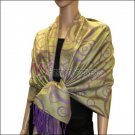 Multi Circle Soft Pashmina <br>Purple w/ Bean Green