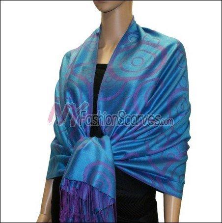 Multi Circle Soft Pashmina <br>Purple w/ Peacock Blue