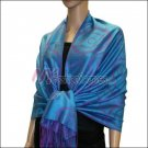 Multi Circle Soft Pashmina <br>Purple w/ Peacock Blue