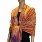 Multi Circle Soft Pashmina <br>Purple w/ Orange