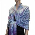 Multi Circle Soft Pashmina <br>Purple w/ Acid Blue