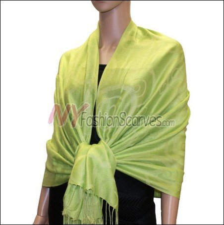 Multi Circle Soft Pashmina <br>Apple Green