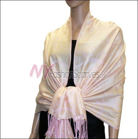 Multi Circle Soft Pashmina <br>Pink w/ Light Goldenrod Yellow