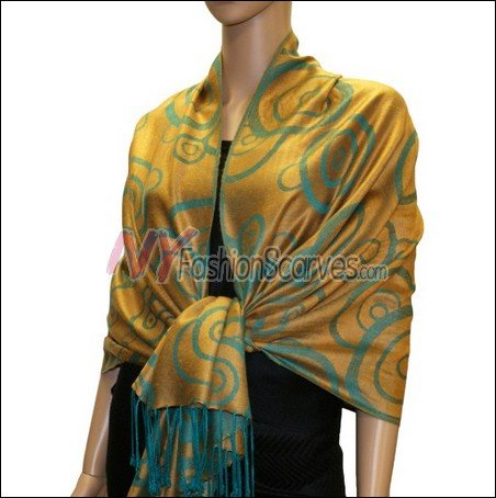 Multi Circle Soft Pashmina <br>Teal w/ Goldenrod