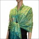 Multi Circle Soft Pashmina <br>Teal w/ Light Green